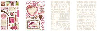 Scrapbooking  Kissing Booth Glitter Chipboard and Alphas Paper Collections 12x12