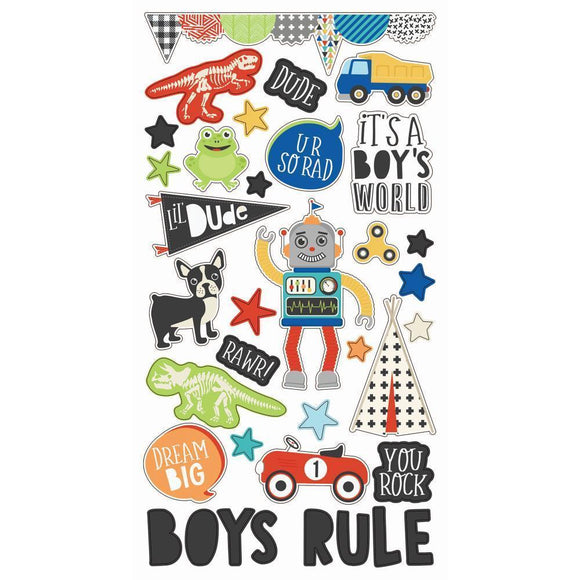 Scrapbooking  Lil' Dude Chipboard Stickers 6