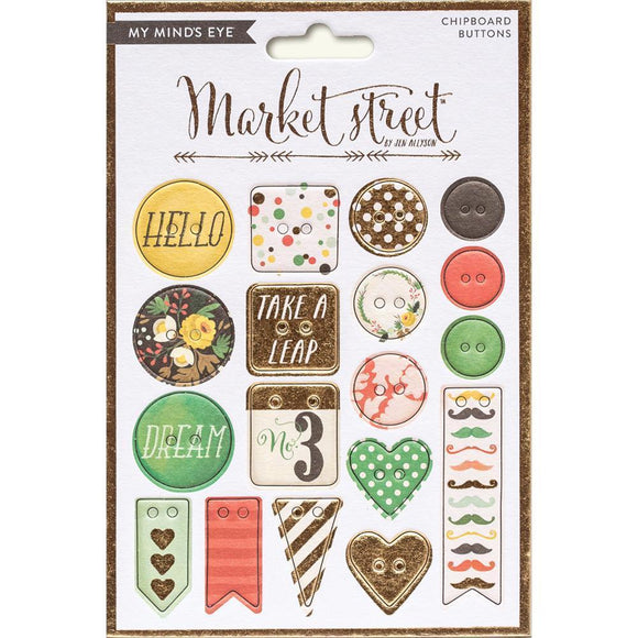 Scrapbooking  Market Street Nob Hill Chipboard Buttons Paper Collections 12x12