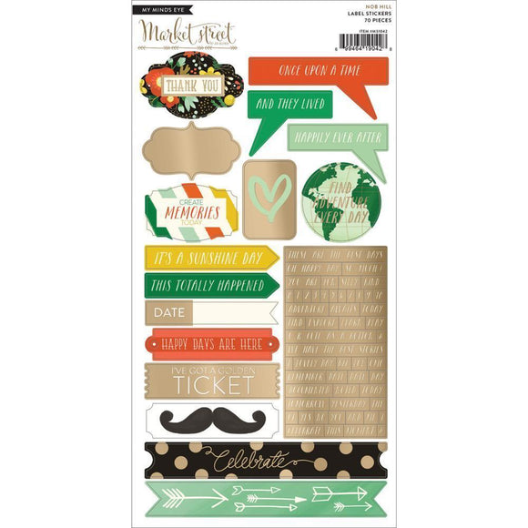 Scrapbooking  Market Street Nob Hill Label Stickers 70 pieces 6x12inch Paper Collections 12x12