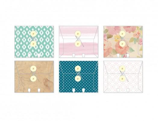 Scrapbooking  Wanderlust Memoydex Envelopes 6pc Paper Collections 12x12