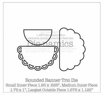 Scrapbooking  MFT Dienamics Rounded Banner Trio Dies Paper Collections 12x12
