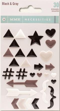 Scrapbooking  MME Necessities Black and Gray  Enamel Shapes Paper Collections 12x12