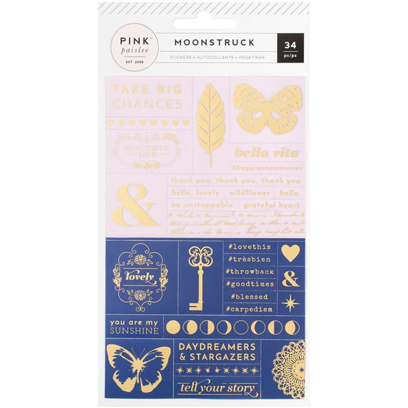 Scrapbooking  Moonstruck Word Jumble Stickers W/Gold Foil Paper Collections 12x12
