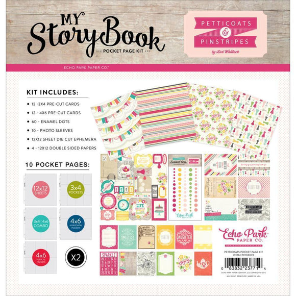 Scrapbooking  My Story Book Pocket Page Kit Petticoats & Pinstripes Girl 12