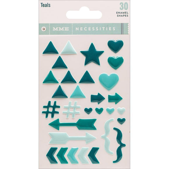 Scrapbooking  Necessities Adhesive Teal Enamel Shapes 30/Pkg Paper Collections 12x12