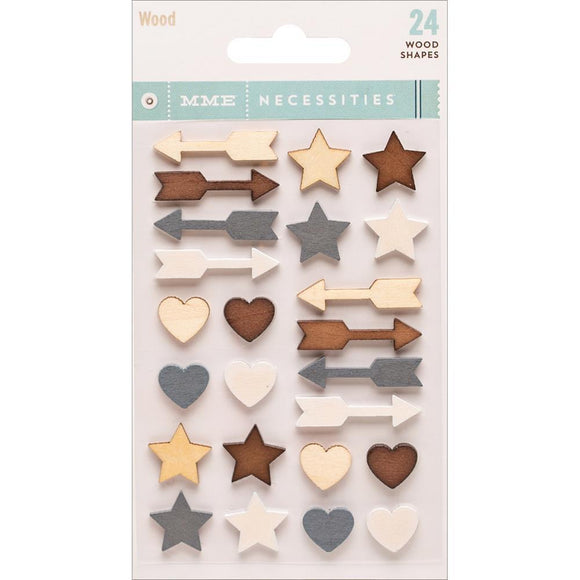 Scrapbooking  Necessities Adhesive Wood Shapes 24/Pkg Paper Collections 12x12