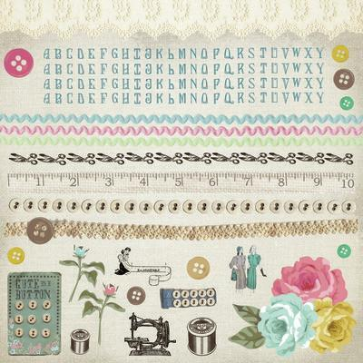 Scrapbooking  Needle and Thread Sticker Sheet Paper Collections 12x12