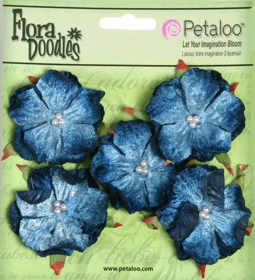 Scrapbooking  Petaloo Velvet Wild Roses Deep Blue 5pc Paper Collections 12x12