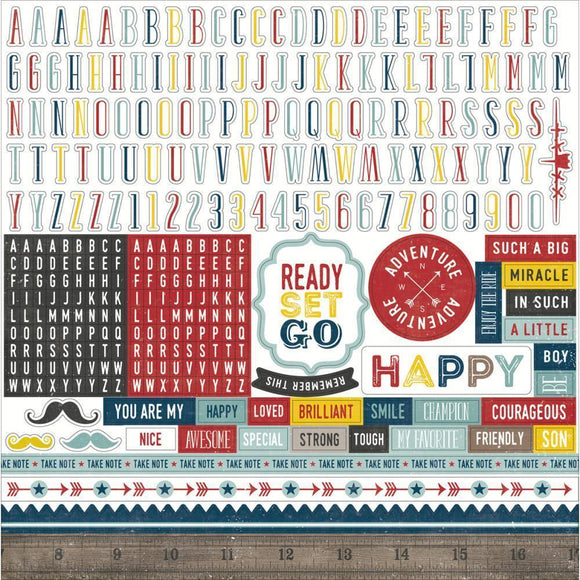 Scrapbooking  Petticoats and Pinstripes Boy Alphabet Stickers 12x12 Paper Collections 12x12
