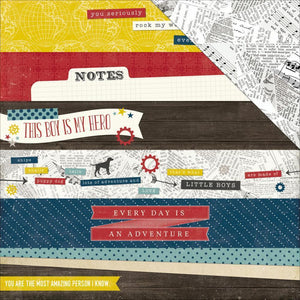 Scrapbooking  Petticoats and Pinstripes Boy Border Stripes Paper 12x12 Paper Collections 12x12