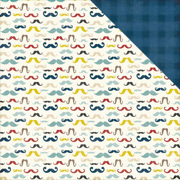 Scrapbooking  Petticoats and Pinstripes Boy Mustaches Paper 12x12 Paper Collections 12x12
