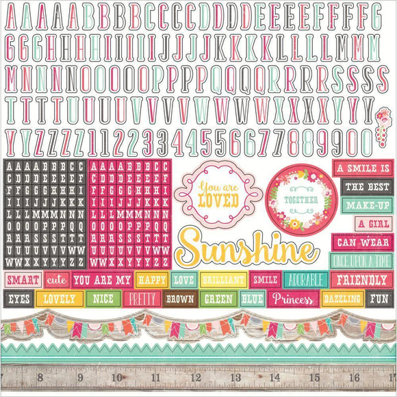 Scrapbooking  Petticoats and Pinstripes Girl Alphabet Stickers 12x12 Paper Collections 12x12