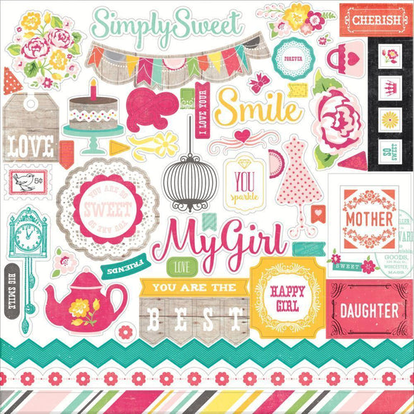 Scrapbooking  Petticoats and Pinstripes Girl Element Stickers 12x12 Paper Collections 12x12