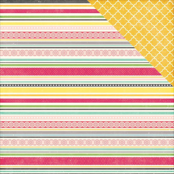 Scrapbooking  Petticoats and Pinstripes Girl Sassy Stripes Paper 12x12 Paper Collections 12x12