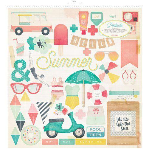 Scrapbooking  Poolside Chipboard Stickers with gold foil 12x12 inch Paper Collections 12x12