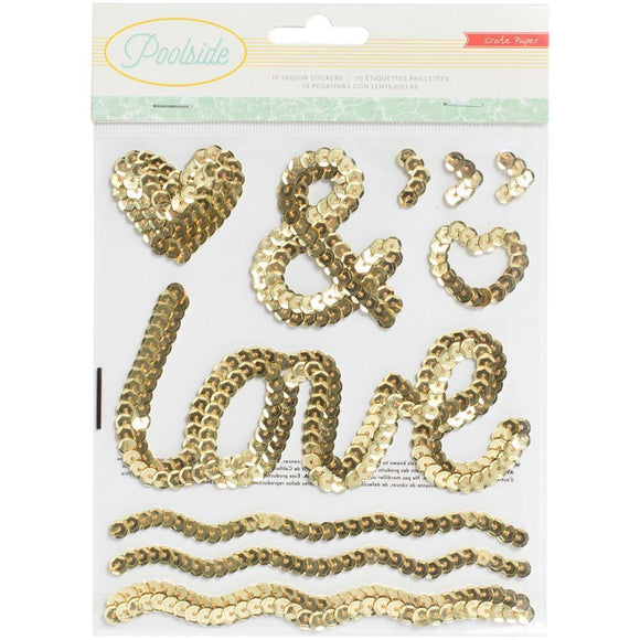 Scrapbooking  Poolside Gold Sequins Shapes Paper Collections 12x12