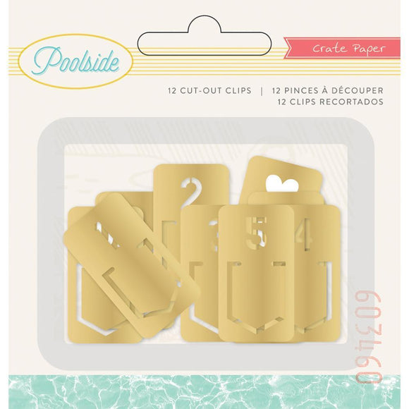 Scrapbooking  Poolside Metal Tab Clips 12/Pkg Gold Paper Collections 12x12