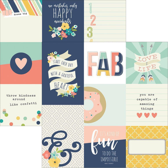 Scrapbooking  Posh 4x6 & 4x4 Vertical Journalling Card Elements 12x12 Paper Collections 12x12