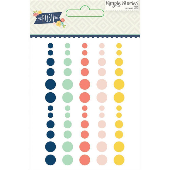 Scrapbooking  Posh Enamel Dots Pack  60pk Paper Collections 12x12