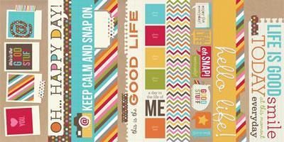 Scrapbooking  Sn@p Life 2x12 and 4x12 Title Strip Paper Collections 12x12