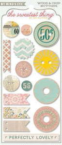 Scrapbooking  The Sweetest Thing Cutie Pie Wood and Chip Buttons Paper Collections 12x12
