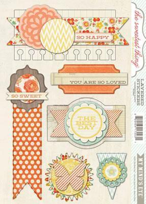 Scrapbooking  The Sweetest Thing Tangerine Happy Layered Stickers Paper Collections 12x12