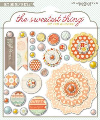 Scrapbooking  The Sweetest Thing Tangerine Sunshine Decorative Brads Paper Collections 12x12