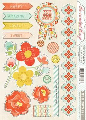 Scrapbooking  The Sweetest Thing Tangerine Wonderful Chipboard Elements Paper Collections 12x12