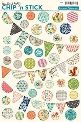 Scrapbooking  Woodland Park Buttons and Banners and Chipboard Shapes Paper Collections 12x12