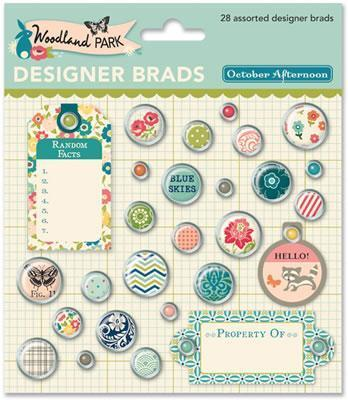 Scrapbooking  Woodland Park Designer Brads Paper Collections 12x12