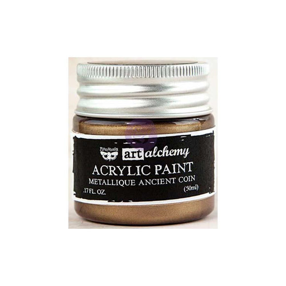 Scrapbooking  Finnabair Art Alchemy Acrylic Paint 1.7 Fluid Ounces - Metallique Ancient Coin Prima Marketing