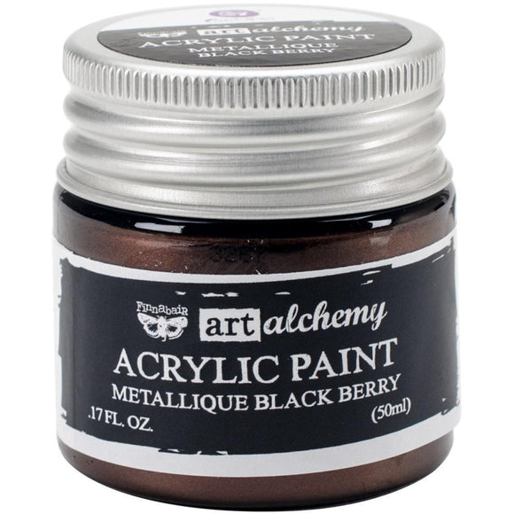 Scrapbooking  Finnabair Art Alchemy Acrylic Paint 1.7 Fluid Ounces - Metallique Black Berry Prima Marketing