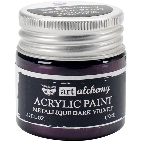 Scrapbooking  Finnabair Art Alchemy Acrylic Paint 1.7 Fluid Ounces - Metallique Dark Velvet Prima Marketing