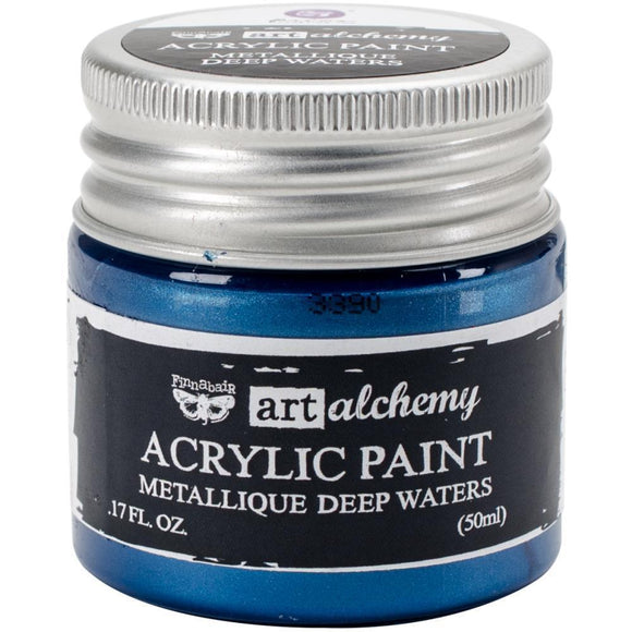 Scrapbooking  Finnabair Art Alchemy Acrylic Paint 1.7 Fluid Ounces - Metallique Deep Waters Prima Marketing