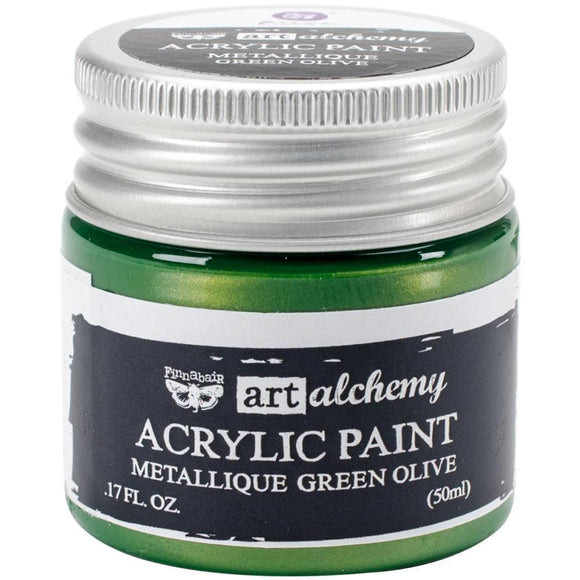 Scrapbooking  Finnabair Art Alchemy Acrylic Paint 1.7 Fluid Ounces - Metallique Green Olive Prima Marketing