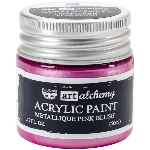 Scrapbooking  Finnabair Art Alchemy Acrylic Paint 1.7 Fluid Ounces - Metallique Pink Blush Prima Marketing