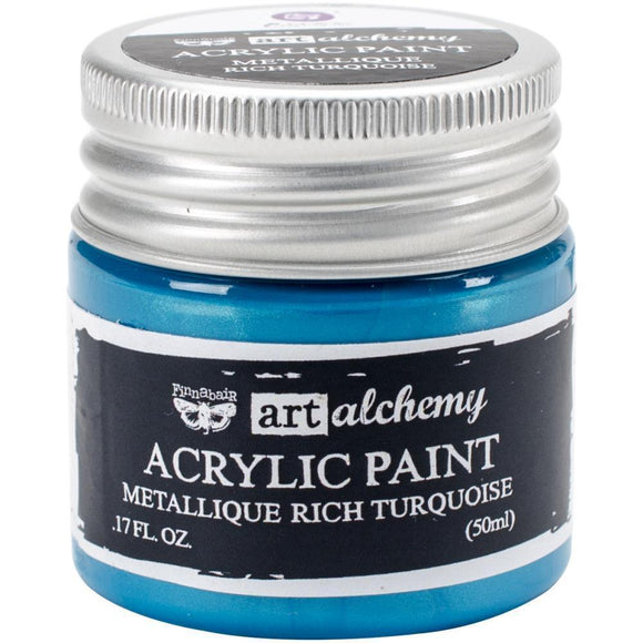 Scrapbooking  Finnabair Art Alchemy Acrylic Paint 1.7 Fluid Ounces - Metallique Rich Turquoise Prima Marketing