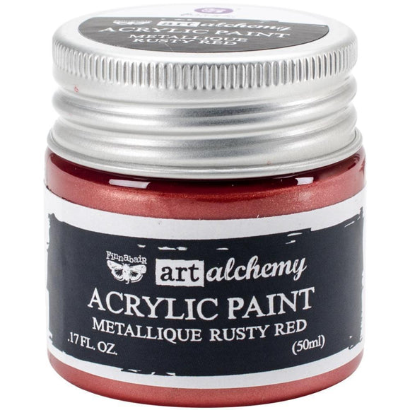 Scrapbooking  Finnabair Art Alchemy Acrylic Paint 1.7 Fluid Ounces - Metallique Rusty Red Prima Marketing