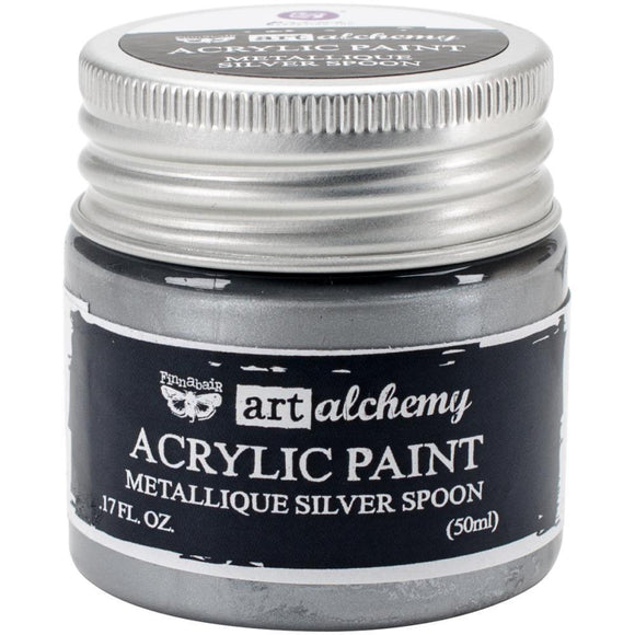 Scrapbooking  Finnabair Art Alchemy Acrylic Paint 1.7 Fluid Ounces - Metallique Silver Spoon Prima Marketing