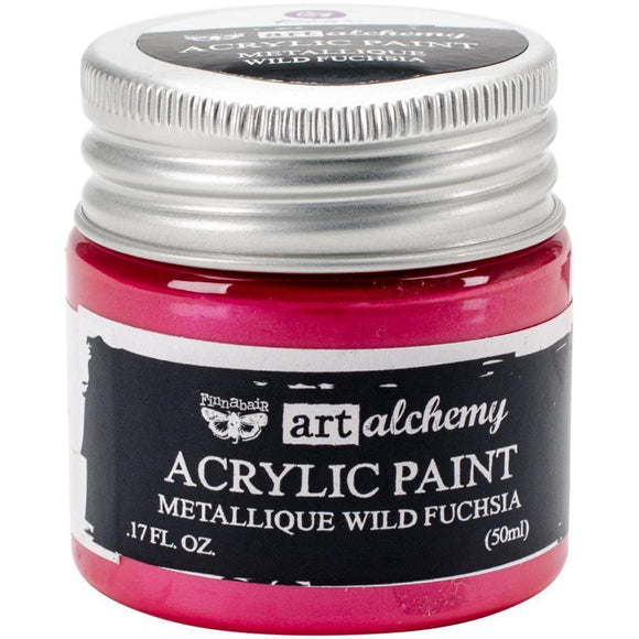 Scrapbooking  Finnabair Art Alchemy Acrylic Paint 1.7 Fluid Ounces - Metallique Wild Fuchsia Prima Marketing