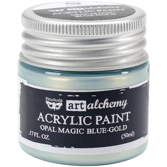 Scrapbooking  Finnabair Art Alchemy Acrylic Paint 1.7 Fluid Ounces - Opal Magic Blue/Gold Prima Marketing
