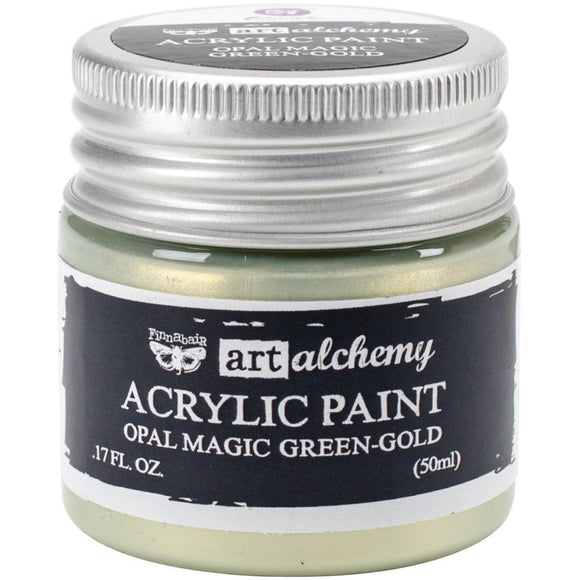 Scrapbooking  Finnabair Art Alchemy Acrylic Paint 1.7 Fluid Ounces - Opal Magic Green/Gold Prima Marketing