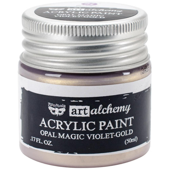 Scrapbooking  Finnabair Art Alchemy Acrylic Paint 1.7 Fluid Ounces - Opal Magic Violet/Gold Prima Marketing