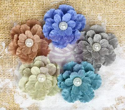 Scrapbooking  Paloma Blue Moon Burlap Flowers 5 pc Prima Marketing