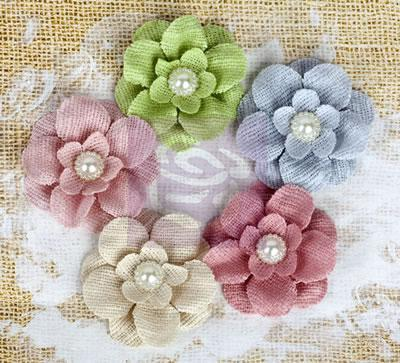 Scrapbooking  Paloma Paloma Burlap Flowers 5 pc Prima Marketing
