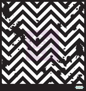 Scrapbooking  Prima Chevron Grunge Stencil 6x6 inch Prima Marketing