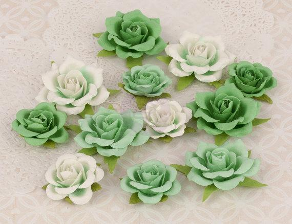 Scrapbooking  Prima Le Mia Roses Chantilly Mint Green Flowers Prima Marketing