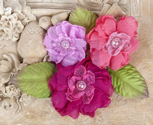 Scrapbooking  Prima Paquita Azalea Fabric Flowers Prima Marketing