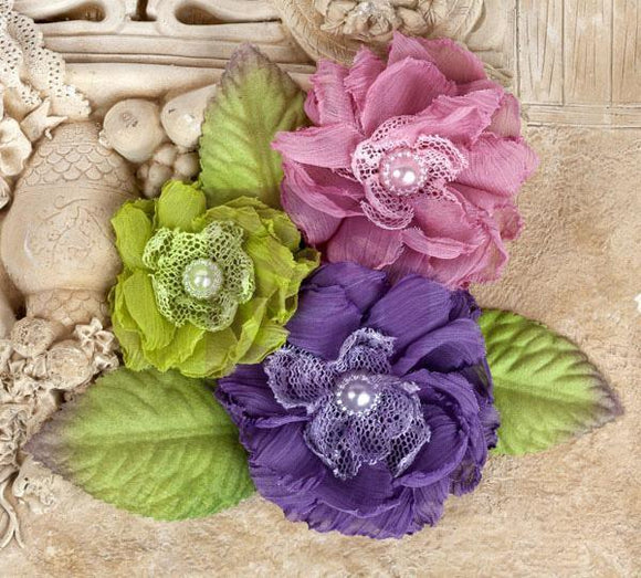 Scrapbooking  Prima Paquita Meadow Fabric Flowers Prima Marketing